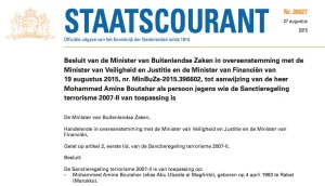 Official announcement of sanctions against Dutch terror suspect Mohamed Amine Boutahar, a.k.a. Abu Ubaida al-Maghribi